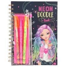 TOPModel neon Doodle kleurboek met neon gelpennen