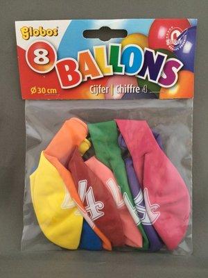 Globos ballonnen 4 jaar 30cm - 8 stuks