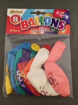 Globos ballonnen 20 jaar 30cm - 8 stuks