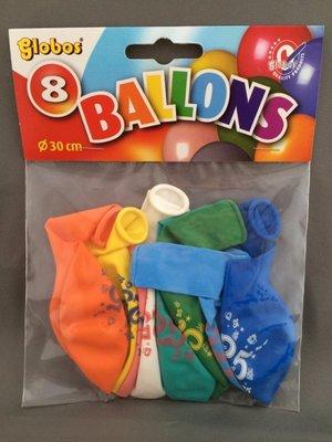Globos ballonnen 25 jaar 30cm - 8 stuks