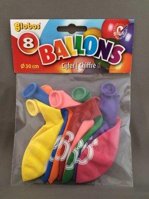 Globos ballonnen 6 jaar 30cm - 8 stuks