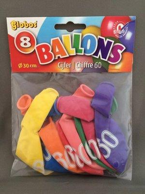 Globos ballonnen 60 jaar 30cm - 8 stuks