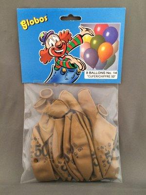 Globos ballonnen 50 jaar 30cm - 8 stuks - Goud