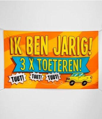 XXL Gevel Vlag 150x90cm Ik Ben Jarig 3 x Toeteren