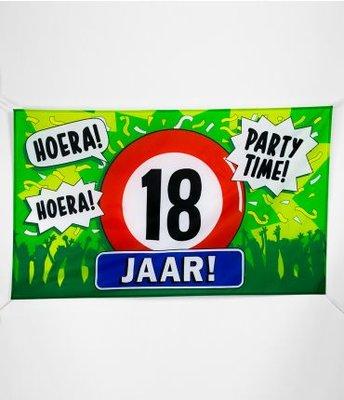 XXL Gevel Vlag 150x90cm Hoera Party Time 18 Jaar