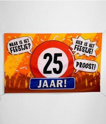 XXL Gevel Vlag 150x90cm Waar is Het Feestje? Hier is Het Feestje! 25 jaar