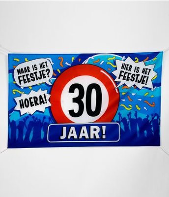 XXL Gevel Vlag 150x90cm Waar is Het Feestje? Hier is Het Feestje! 30 jaar