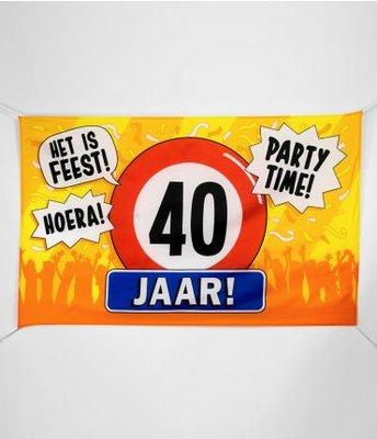 XXL Gevel Vlag 150x90cm Het is Feest! Party Time! 40 Jaar