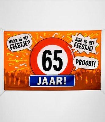 XXL Gevel Vlag 150x90cm Waar is Het Feestje! Hier is Het Feestje! 65 Jaar