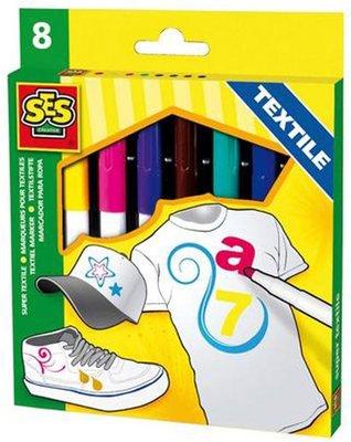 SES Textielstiften maxi 8 kleuren
