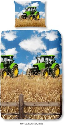 Good Morning 5604-P Groene tractor - kinderdekbedovertrek - 140x200/220 cm - 100% cotton - multi