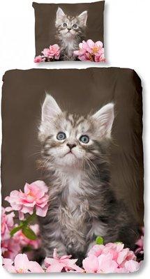 Good Morning Dekbedovertrek Cats 135 X 200 Cm Bruin